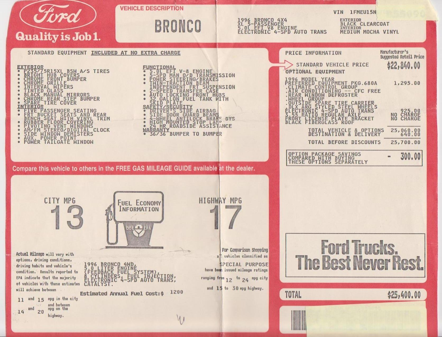 Ford Bronco And F 150 Links History Literature Vin Door Jamb Home 91 F250 4x4 Front Bearing Diagram Free Source By Miesk5 At Broncolinkscom